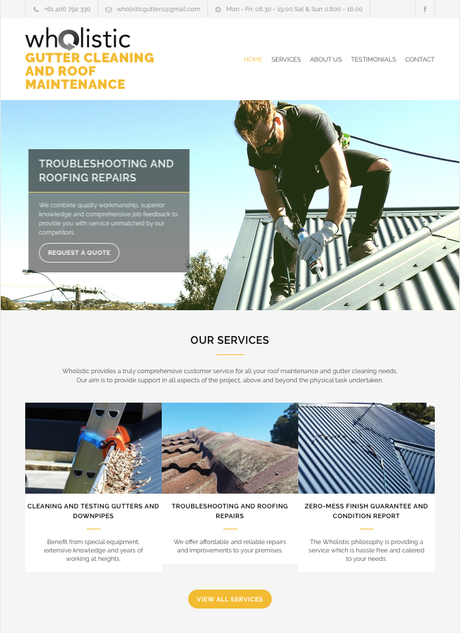 Wholistic Gutter Cleaning and Roof Maintenance website